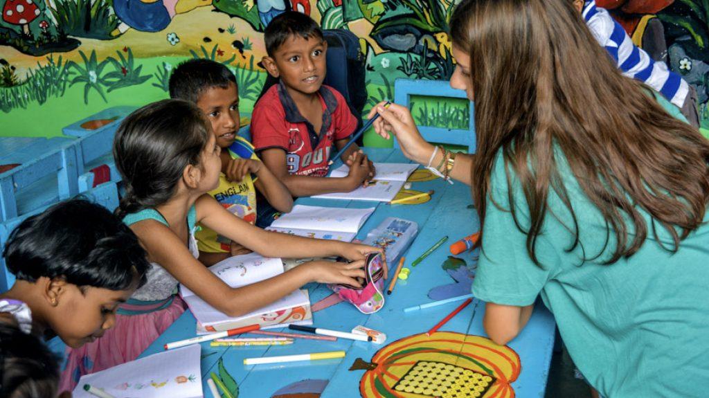 Kandy kindergarten Teaching with involvement volunteers international