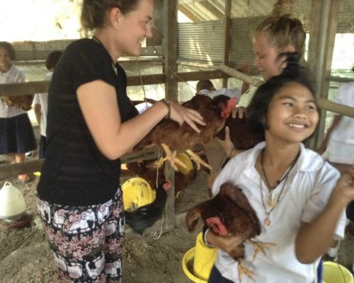 Karen tribe school chickens