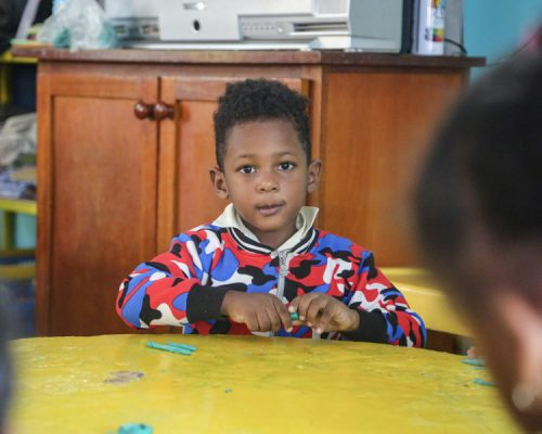 young boy at kindergarten