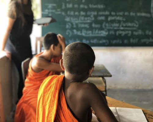 monk at desk