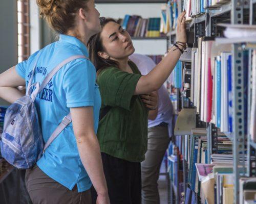 IVI volunteers in library