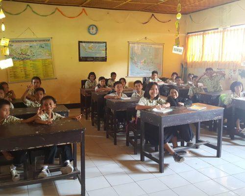 Lombok primary school classroom with kids