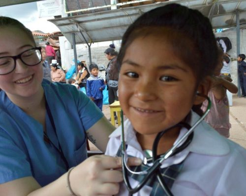 medical volunteer abroad in peru with stethascope in hospital