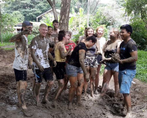Mixing mud with feet