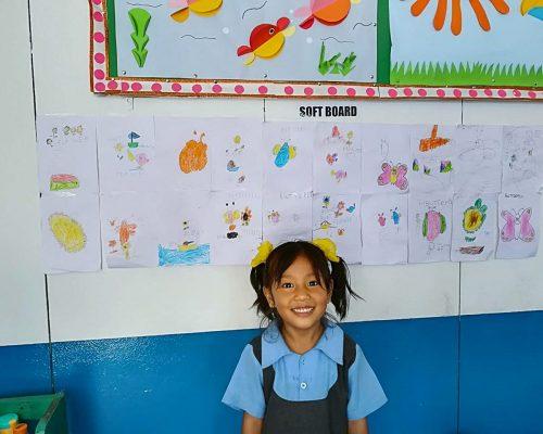 Young girl in Nepal kindergarten IVI project