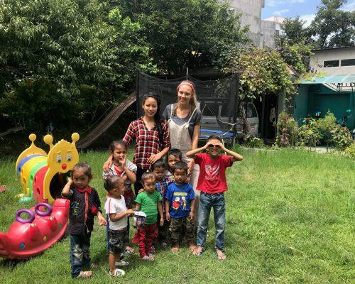 Nepalese children with Georgina