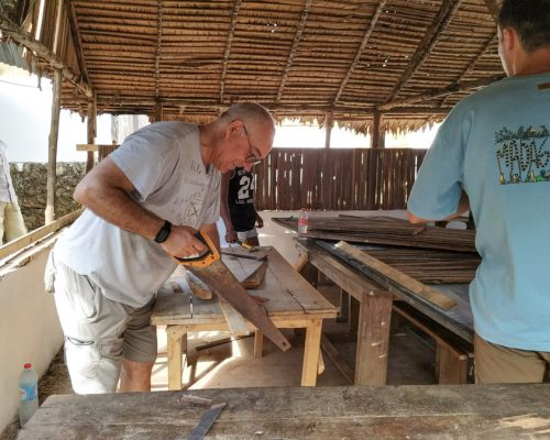 sawing wood in Madagascar