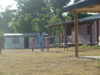 the morning walk to the kindergarten on remote island fiji