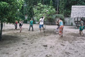 playing vollyball