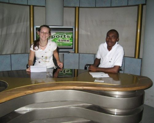 Participant on TV in Ghana