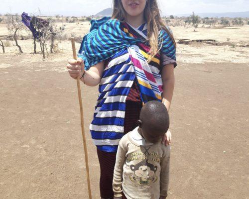Participant with maasai kid