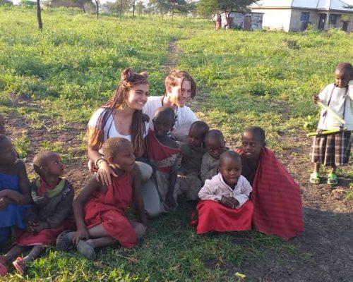 Participants enjoying being in maasai village