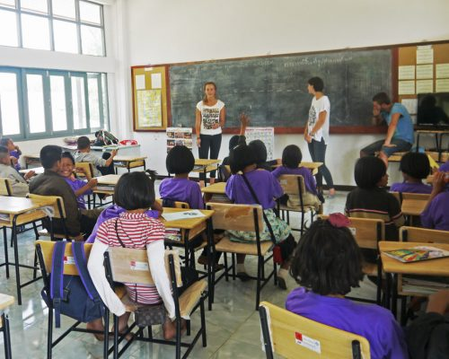 Participants teaching class