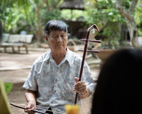 Playing Vietnamese musical instrument