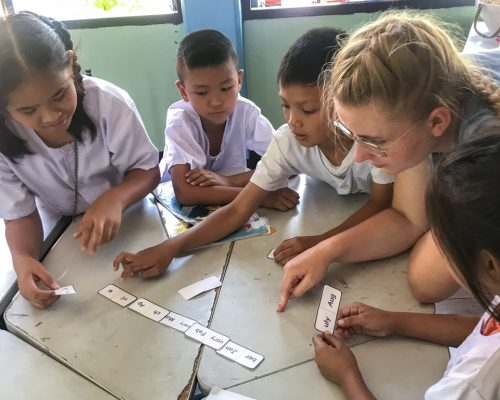 Playing word game with students