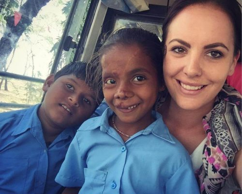 Sophie Blackwell volunteering India