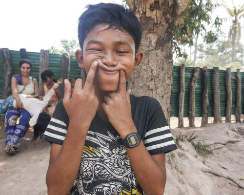 Student making funny face