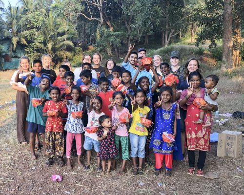 indian children in large group