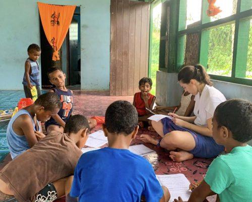 teaching on the floor