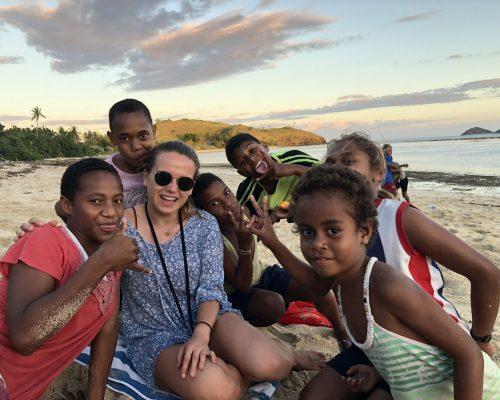Volunteer teaching picture in Fiji islands