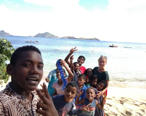beach and children shot island teaching program fiji