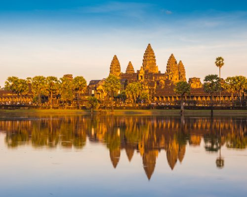 cambodia temple under setting sun