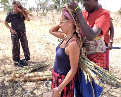 IVI volunteer with Maasai man in Tanzania