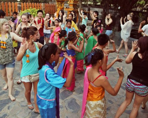 volunteer enjoying welcome ceremony in thailand