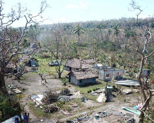 view from above of cyclone harold damage