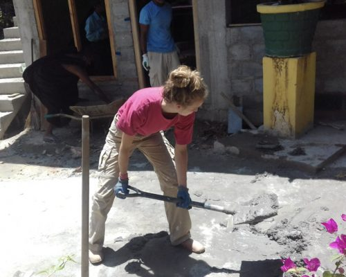 digging cement on Kandy conservation project