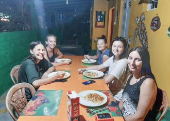 eating dinner at accomodation in Amabalangoda