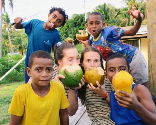 island fiji volunteer teaching program look at those papayas!