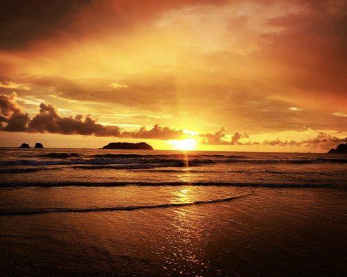 orange sunset over ocean