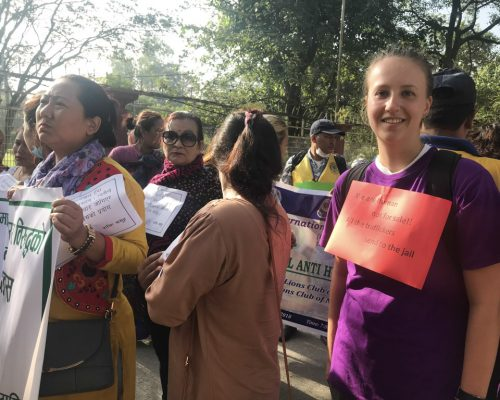 participating in rally
