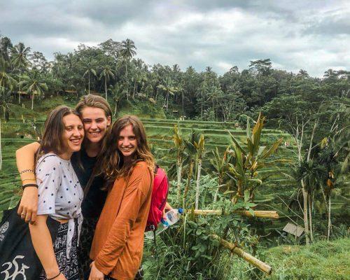 posing by rice paddies in Bali