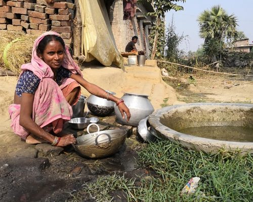 rural bodhgaya resident washing up