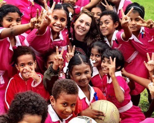 volunteers with children fiji