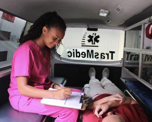 sitting in ambulance