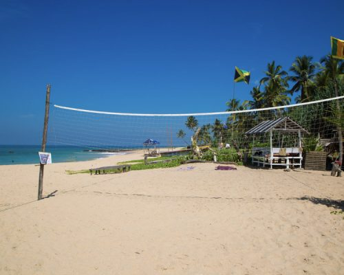 volleyball net on beach in Ambalangoda