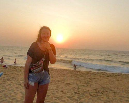 volunteer on beach in Sri Lanka