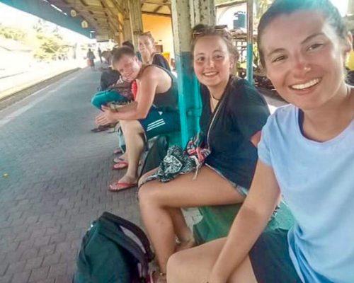 waiting at the train station-