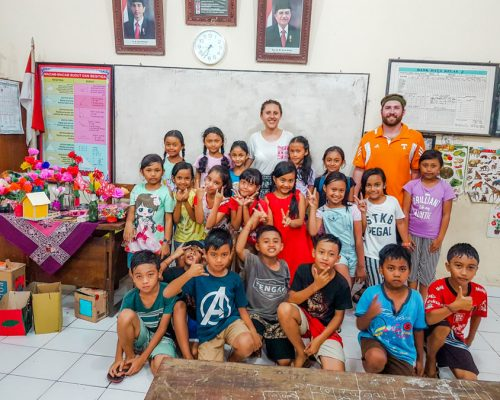with Bali school children