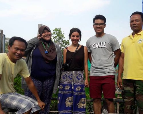 with Cambodian hosts