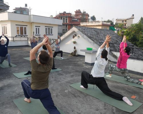 doing yoga in the orientation week nepal